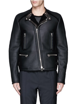 Main View - Click To Enlarge - Lanvin - Vintage shearling leather biker jacket
