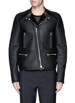 Vintage shearling leather biker jacket
