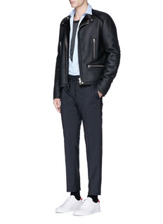 Lanvin Vintage shearling leather biker jacket