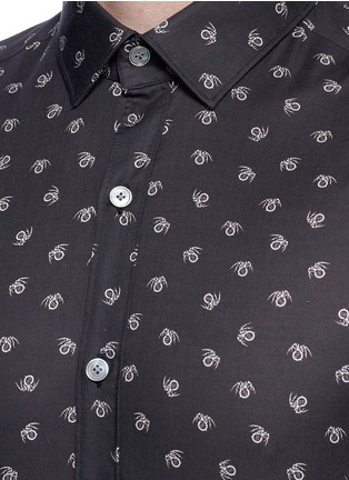 Detail View - Click To Enlarge - Lanvin - Slim fit spider print cotton shirt