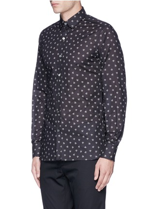 Front View - Click To Enlarge - Lanvin - Slim fit spider print cotton shirt
