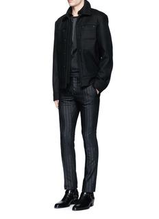 LanvinGlitter stripe wool tuxedo pants