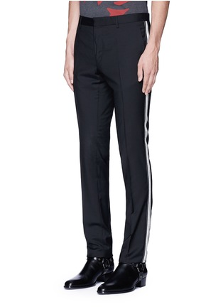 Front View - Click To Enlarge - Lanvin - Slim fit ribbon stripe wool pants