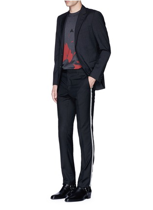 Figure View - Click To Enlarge - Lanvin - Slim fit ribbon stripe wool pants