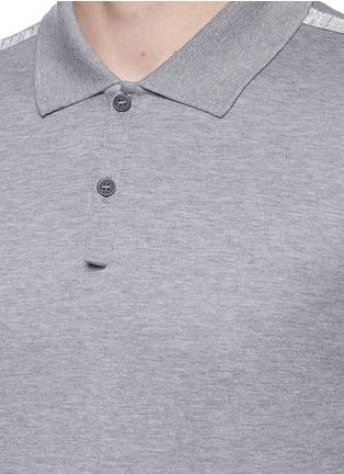 细节 - 点击放大 - LANVIN - 条带装饰单色纯棉polo衫