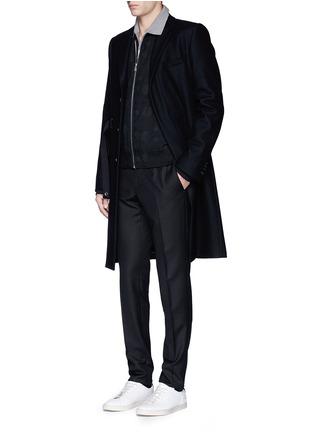 模特儿示范图 - 点击放大 - LANVIN - 条带装饰单色纯棉polo衫