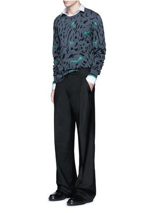 模特儿示范图 - 点击放大 - LANVIN - 拼色花纹羊毛混丝针织衫