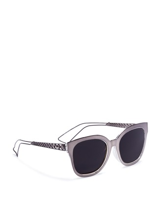 Figure View - Click To Enlarge - Dior - 'Diorama 1' metal openwork temple square cat eye sunglasses