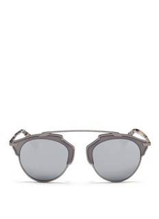 Dior 'Dior So Real' tortoiseshell acetate temple metal mirror sunglasses