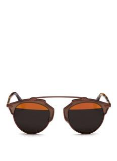 Dior'Dior So Real' tortoiseshell temple inset metallic stripe sunglasses