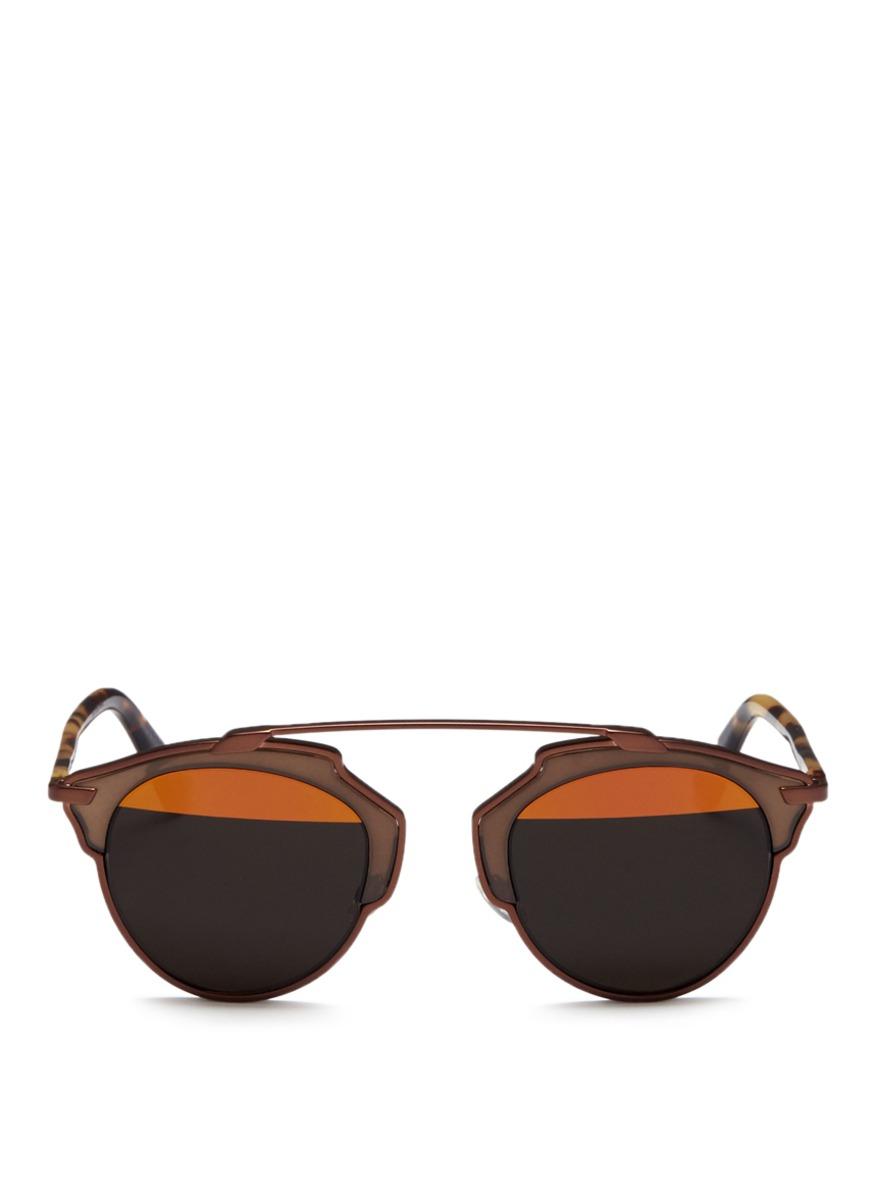 Dior So Real tortoiseshell temple inset metallic stripe sunglasses by Dior