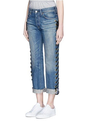 Front View - Click To Enlarge - Tu Es Mon Trésor - Rope lace-up side selvedge jeans