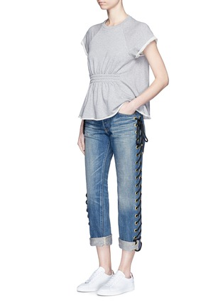 Figure View - Click To Enlarge - Tu Es Mon Trésor - Rope lace-up side selvedge jeans