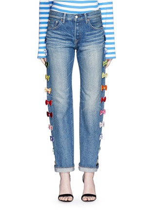 Detail View - Click To Enlarge - Tu Es Mon Trésor - Velvet bow appliqué selvedge jeans