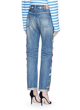 Back View - Click To Enlarge - Tu Es Mon Trésor - Velvet bow appliqué selvedge jeans
