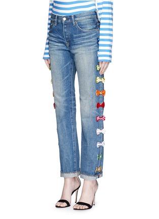 Front View - Click To Enlarge - Tu Es Mon Trésor - Velvet bow appliqué selvedge jeans