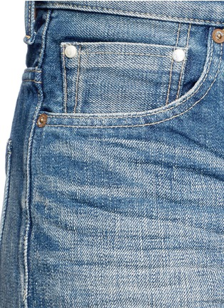 Detail View - Click To Enlarge - Tu Es Mon Trésor - Petersham ribbon bow cuff selvedge jeans