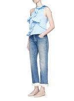 Petersham ribbon bow cuff selvedge jeans