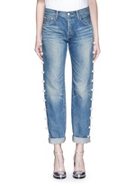 Faux pearl embellished selvedge jeans