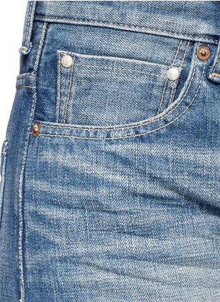 Detail View - Click To Enlarge - Tu Es Mon Trésor - Faux pearl embellished selvedge jeans