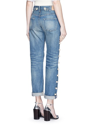 Back View - Click To Enlarge - Tu Es Mon Trésor - Faux pearl embellished selvedge jeans