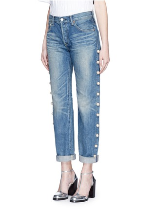 Front View - Click To Enlarge - Tu Es Mon Trésor - Faux pearl embellished selvedge jeans