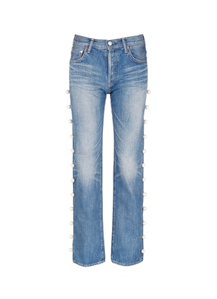 Main View - Click To Enlarge - Tu Es Mon Trésor - Faux pearl embellished selvedge jeans