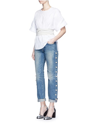 Figure View - Click To Enlarge - Tu Es Mon Trésor - Faux pearl embellished selvedge jeans