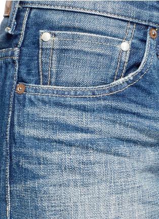 Detail View - Click To Enlarge - Tu Es Mon Trésor - Faux pearl embellished front selvedge jeans