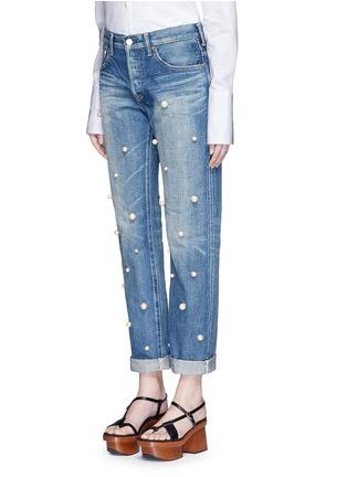 Front View - Click To Enlarge - Tu Es Mon Trésor - Faux pearl embellished front selvedge jeans
