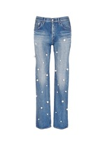 Faux pearl embellished front selvedge jeans