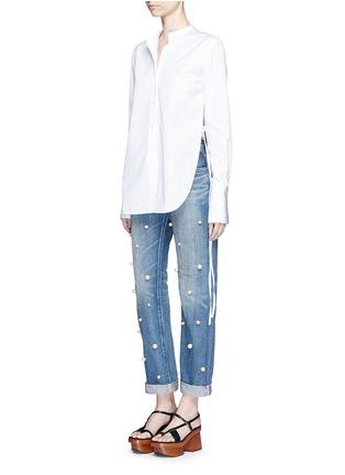 Tu Es Mon Trésor-Faux pearl embellished front selvedge jeans