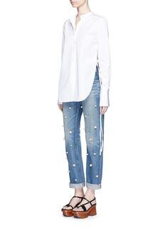 Tu Es Mon TrésorFaux pearl embellished front selvedge jeans