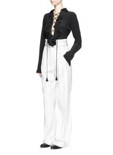 CHLOÉRuffle lace-up silk crepe de Chine blouse