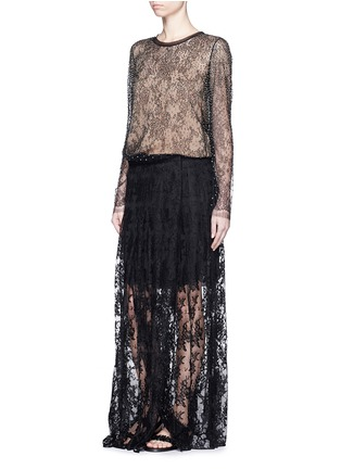 Figure View - Click To Enlarge - Chloé - Pleat lace maxi skirt