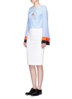 EMILIO PUCCIBow front stripe cuff silk blouse