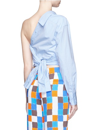 Back View - Click To Enlarge - Emilio Pucci - Point collar one-shoulder poplin shirt