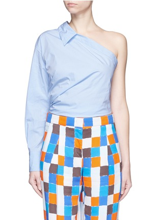 Main View - Click To Enlarge - Emilio Pucci - Point collar one-shoulder poplin shirt