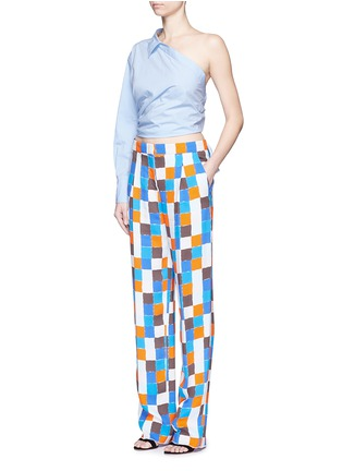 Figure View - Click To Enlarge - Emilio Pucci - Point collar one-shoulder poplin shirt