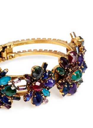 Detail View - Click To Enlarge - Erickson Beamon - 'Hyperdrive' Swarovski crystal floral cluster bangle