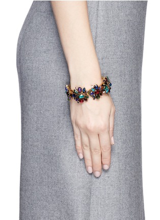 Figure View - Click To Enlarge - Erickson Beamon - 'Hyperdrive' Swarovski crystal floral cluster bangle