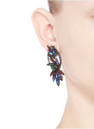 Figure View - Click To Enlarge - Erickson Beamon - 'Hyperdrive' Swarovski crystal oval leaf earrings