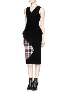 ALEXANDER MCQUEENTartan plaid peplum waist felt dress