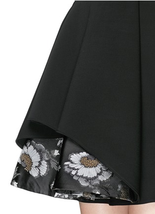 Detail View - Click To Enlarge - Alexander McQueen - Floral silk jacquard hem wool blend dress