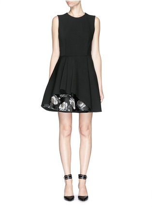 Main View - Click To Enlarge - Alexander McQueen - Floral silk jacquard hem wool blend dress