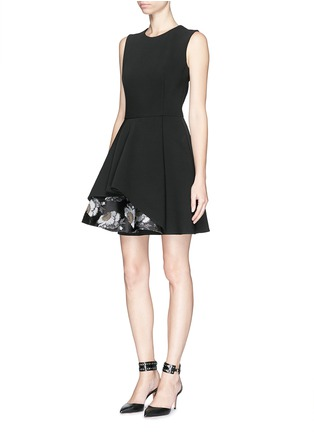 Figure View - Click To Enlarge - Alexander McQueen - Floral silk jacquard hem wool blend dress