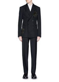 Alexander McQueen Glass crystal medallion double breasted blazer