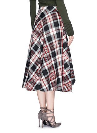 Back View - Click To Enlarge - Alexander McQueen - Asymmetric hem tartan plaid wool midi skirt