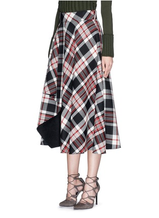 Front View - Click To Enlarge - Alexander McQueen - Asymmetric hem tartan plaid wool midi skirt