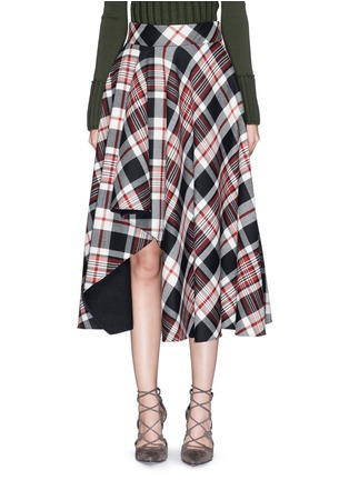 Main View - Click To Enlarge - Alexander McQueen - Asymmetric hem tartan plaid wool midi skirt